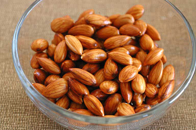 Sprouted soaked almonds are plump and juicy